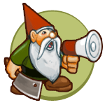 A gnome holding a bullhorn voice amplifier and a cleaver. He is shouting into the bullhorn.