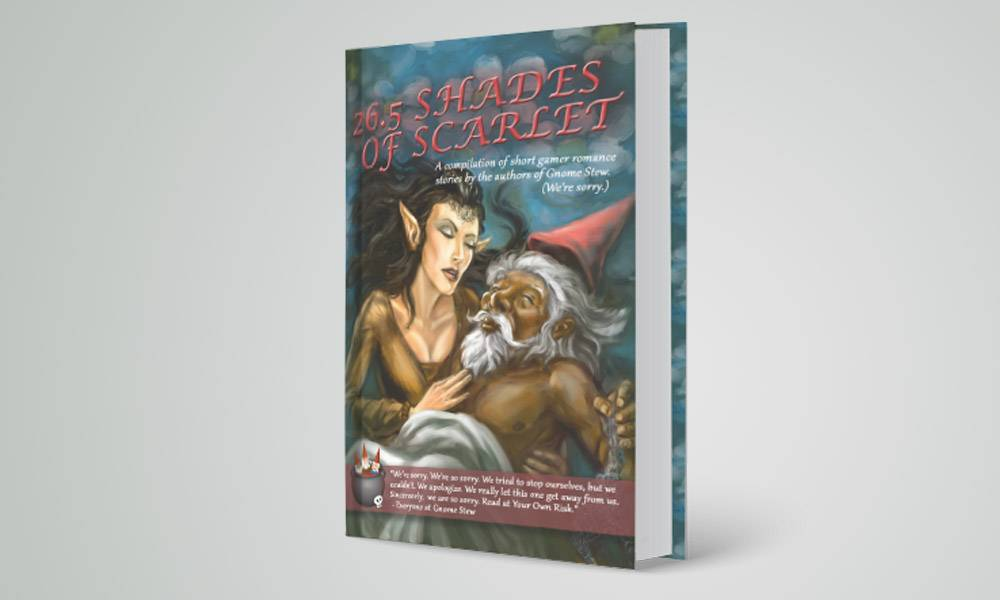 The cover of 26.5 Shades of Scarlet, with a dark haired elven woman caressing the bare chest of a dark skinned gnomish man. A small white sheet covers his nether regions. It is quite saucy.