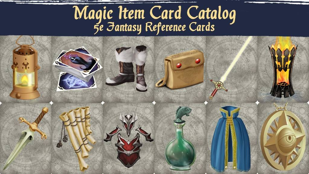 A table with 12 magic items in 2 rows. The title says Magic Item Card Catalog 5E Fantasy Reference Cards.