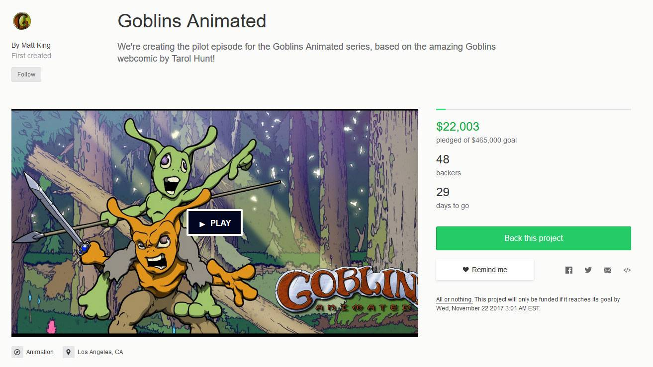 A screenshot of the goblins kickstarter page, showing two goblins in the video frame with one riding the shoulders of the other.