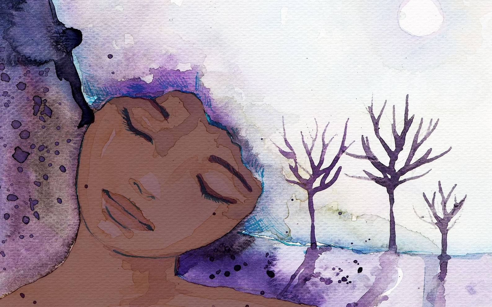 A painting of a darker skinned woman with her head titled to her left, her eyes are closed and a dream is sprouting from her head in the shape of her curly, natural hair. The dream seems to be of 3 stark trees lit by a purplish moon or sun. The texture of the piece is canvas and paint daubs.