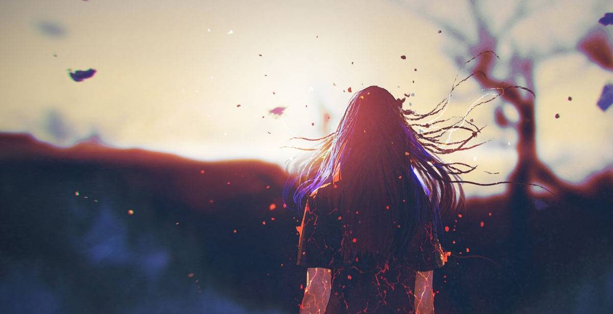 A woman stands with her back to the viewer, framed against a blurry, light colored sunset. Energy and electricity crackles through her as parts of her seem to be breaking off and floating like ash into the air.