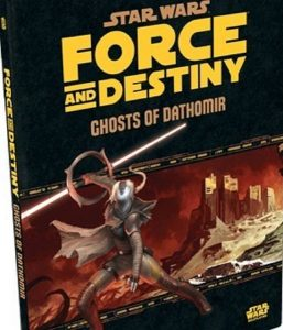 Cover of Ghosts of Dathomir adventure, featuring a masked character with a double bladed lightsaber