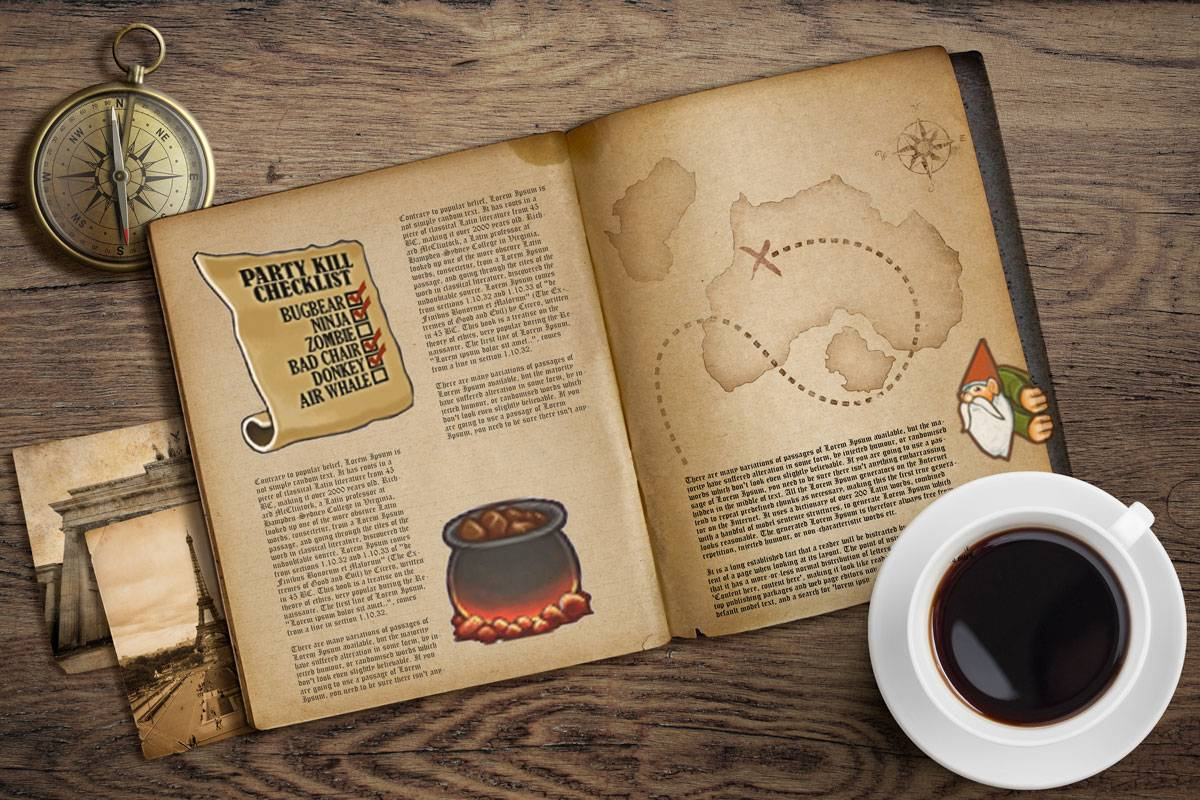 A parchmenty book on a wooden table with pictures and coffee around it. The book has badly set text with cartoony images of a gnome peeking from the side of the page, a cauldron of meat, and a party kill checklist, as well as a map with an X.