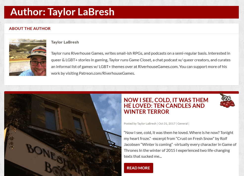 A screenshot of author Taylor LaBresh's articles and bio.