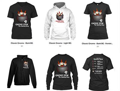 6 shirts and hoodies in black and white with the Gnome Stew logo on them.