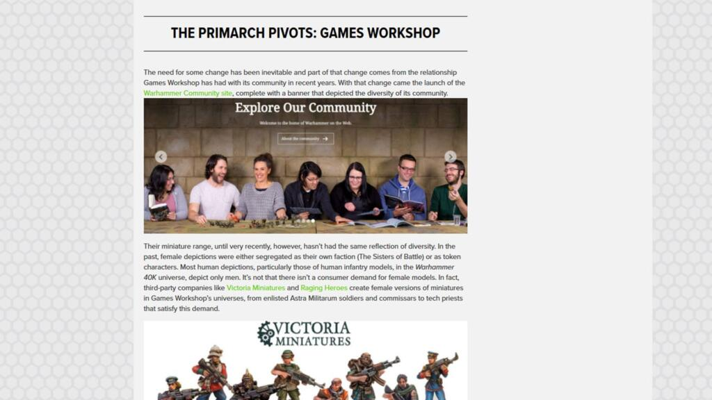 A screencapture of the article, showing a group of people at Games Workshop and a series of miniatures from the Victoria line