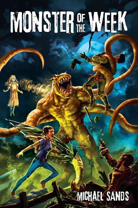 A tentacled monster is assaulted by a group of monster hunters using guns, blades, and weird powers.