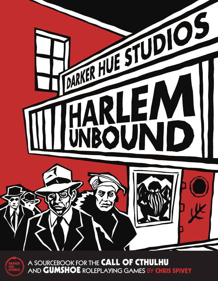 The cover of Darker Hue Studios Harlem Unbound, showing a movie theater in a stylistic hard lines and dark colors (dark red and black). 4 Characters stand to the bottom left of the frame - A black an with a fedora, a black woman with a fur stole and stylish hat, and two men behind them. A poster of Cthulu is on a door to the right under a Movie Marquee style title.
