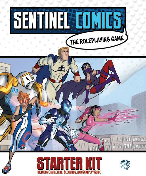 A group of six superheroes face out towards the edge of the picture, with one of them running at super speed out of the cover, and another using her powers to the side.