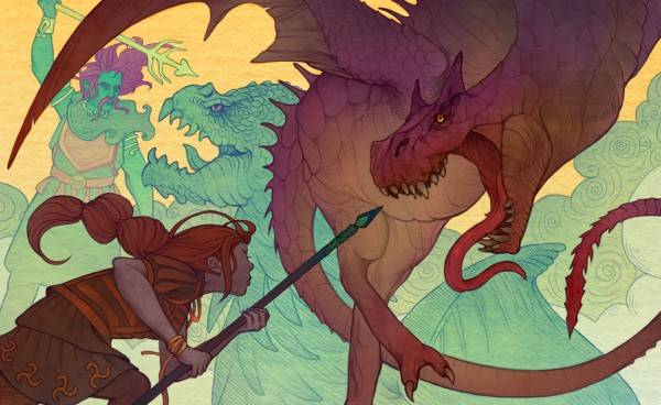 A woman fighting a wyvern in the shadow of a god fighting a dragon.