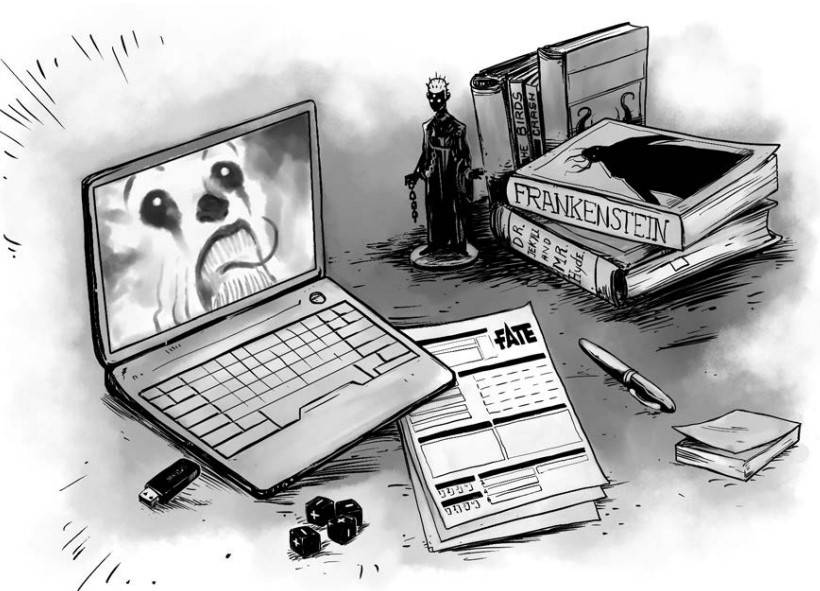 An evil clown looks out of a laptop, while fate RPG material, horror novels, and an action figure sit on a desk.
