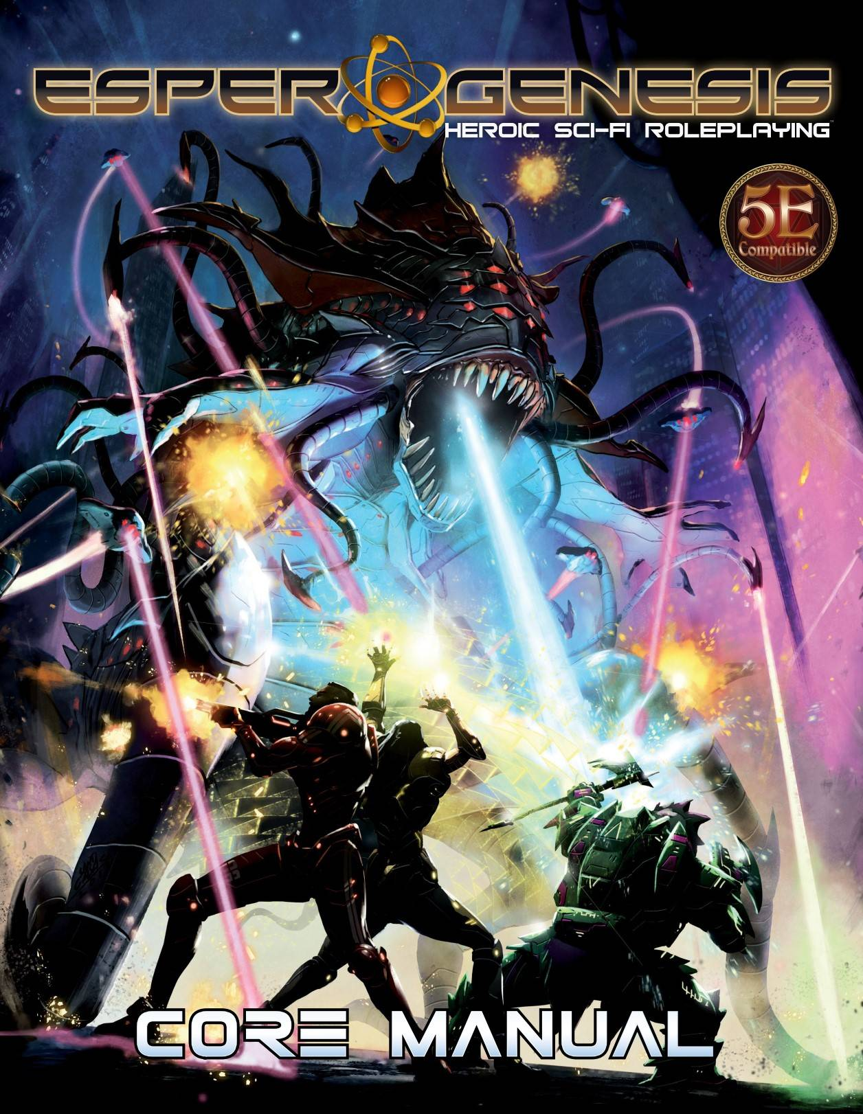 A tentacled alien horror with multiple eyes fires energy blasts at a group of tech armored explorers.