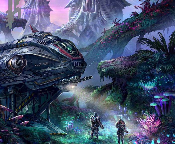 A starship, parked on a colorful alien landscape, with explorers patrolling the landing site.
