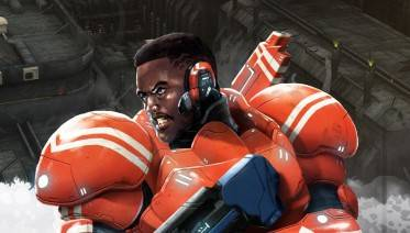 A warrior wearing orange and white power armor.