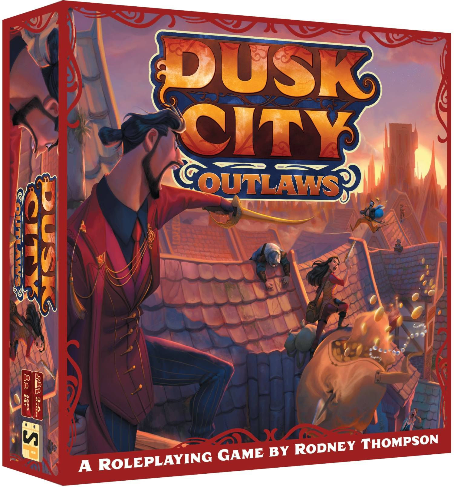 Game box where a man with a sword is yelling at a crew of thieves running across rooftops, spilling their stolen goods.