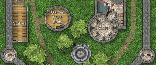 A cluster of infrequently-referenced rooms cluster around a stone, flower-shaped fountain in the center of a castle's courtyard.