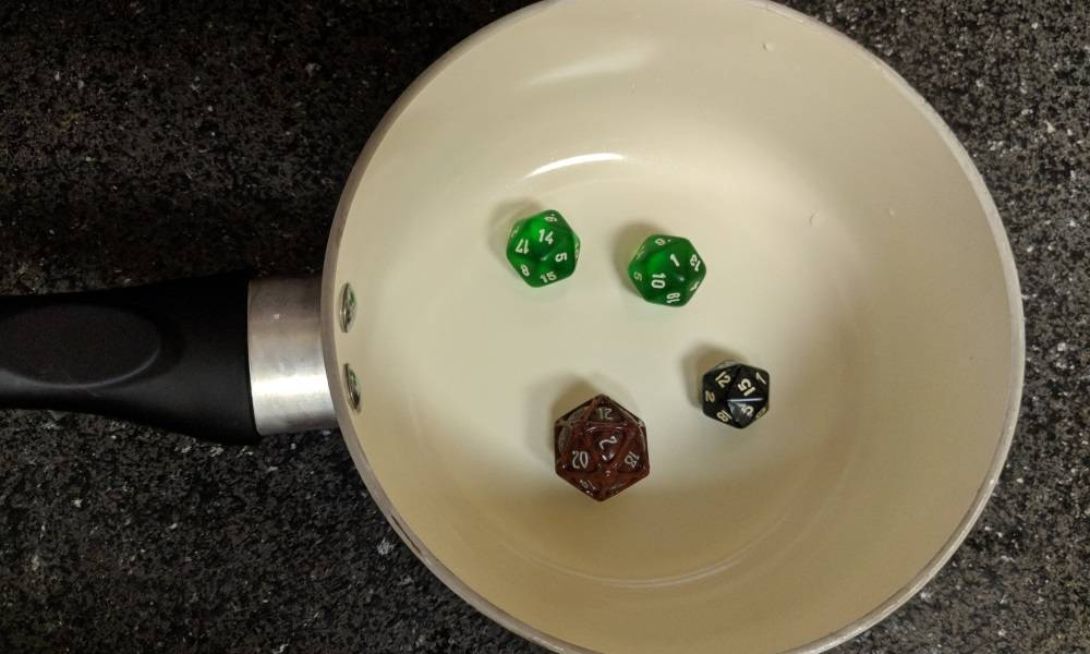 Seriously? Boil your dice?
