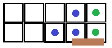 A gridded image, with two dots representing goblins immediately adjacent to three dots representing party members.