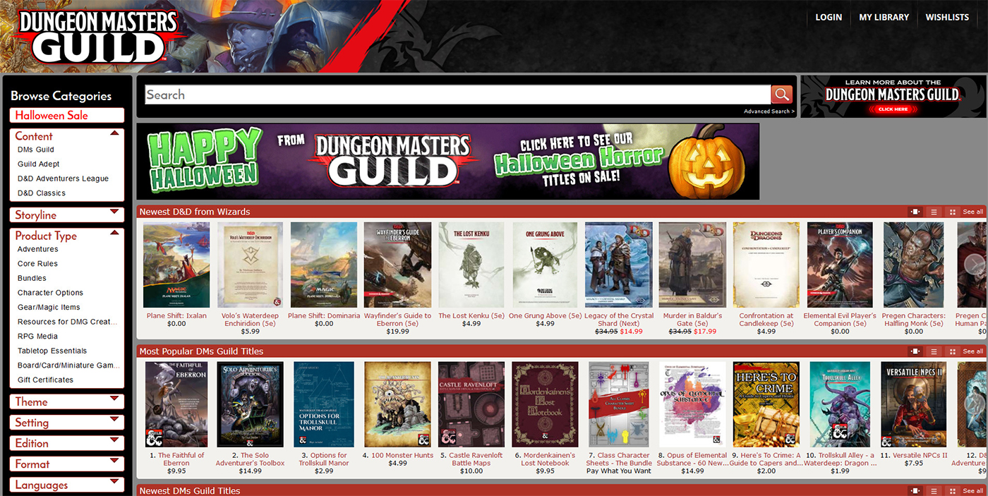 A screenshot of the Dungeon Masters Guild homepage