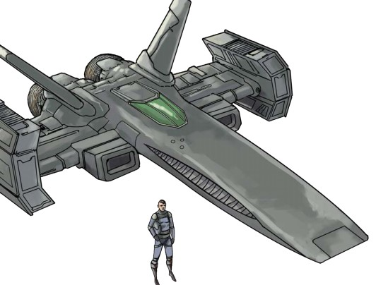 A Draconis pilot standing next to his Goblin starfighter.