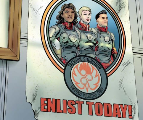 Three pilots standing shoulder to shoulder on a recruitment poster for Tachyon Squadron.