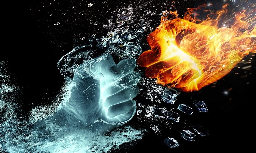 Fists made of fire and water meet in the center of the picture.
