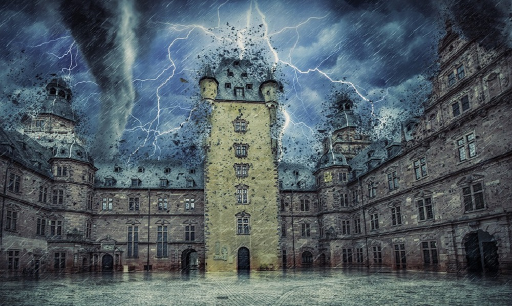 A castle courtyard being torn apart by a tornado.