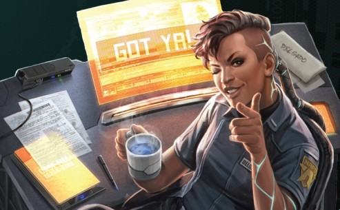 A cybernetically enhanced police officer drinks coffee while she locks down a computer system on a runner.