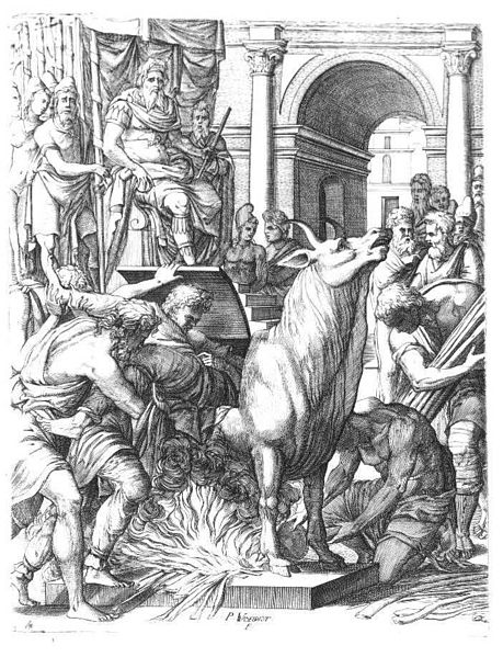 An old-style drawing where a man is forced into a metal bull with a fire underneath.