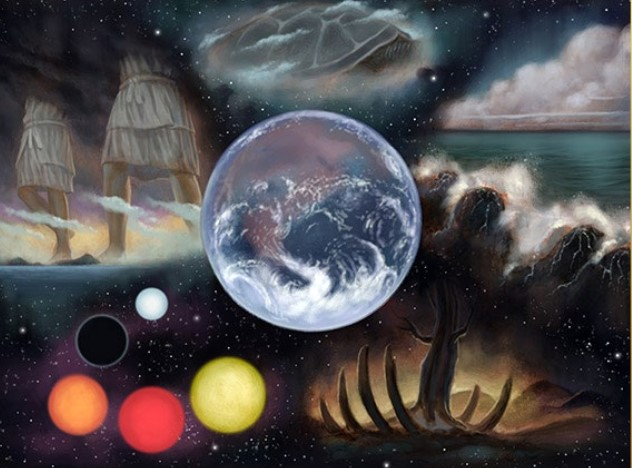 The Earth, surrounded by various images from conflicting creation myths.