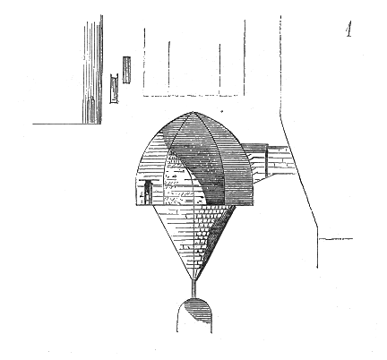 An old-style architectural drawing of a very small room, shaped like an inverted cone, with an entrance at the top.