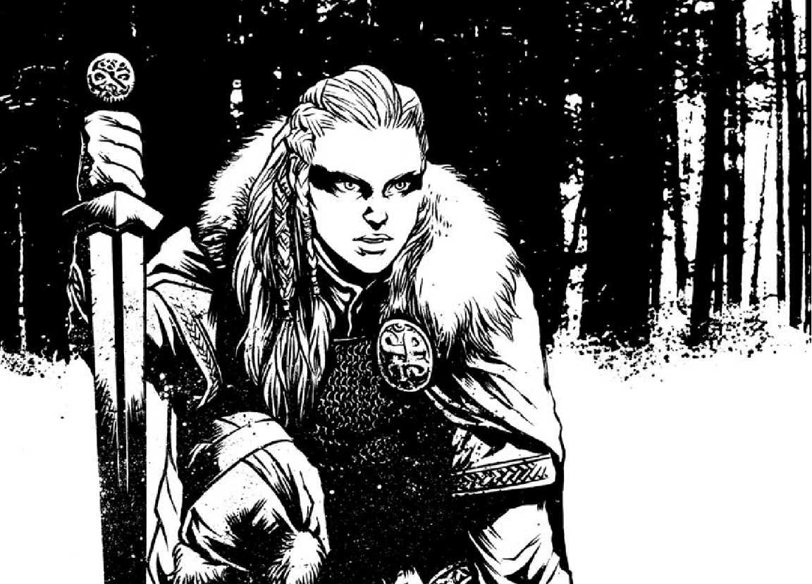 A warrior in furs with a sword crouches in the snow, near a forest.