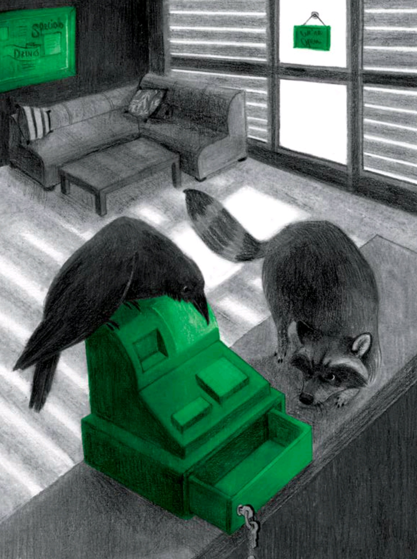 A raven and a raccoon are peering into an open cash drawer on the counter of a business.