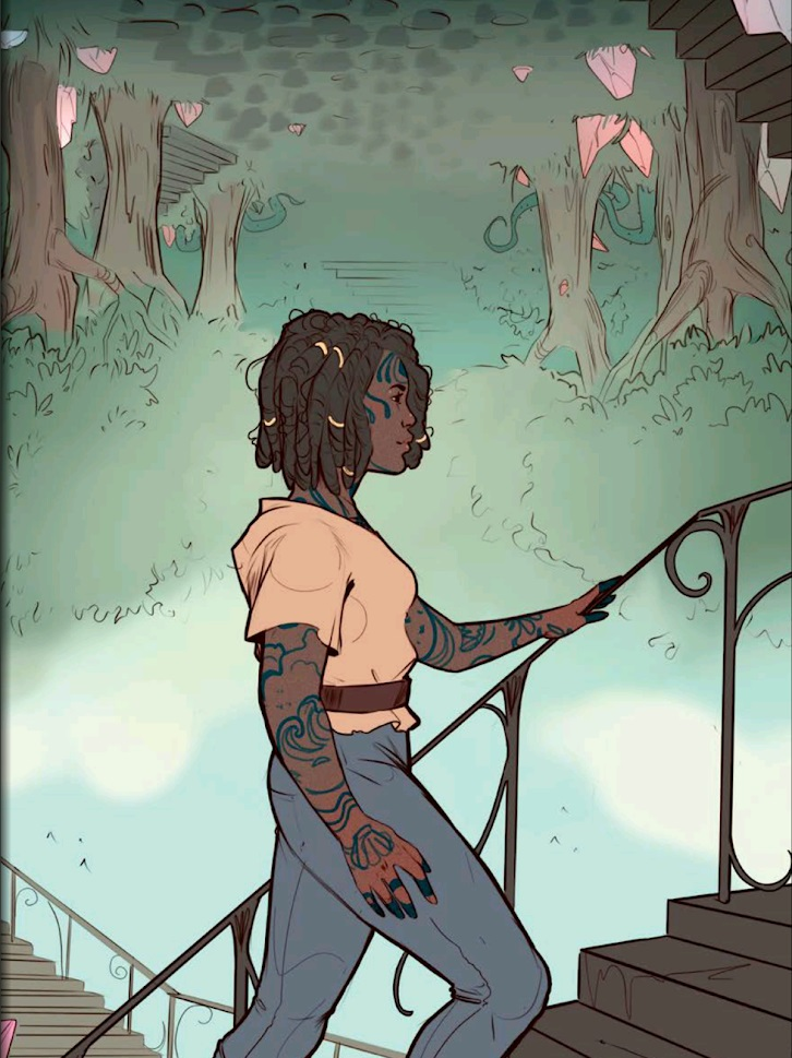 A tattooed woman walks up stairs, rising about mists below her.
