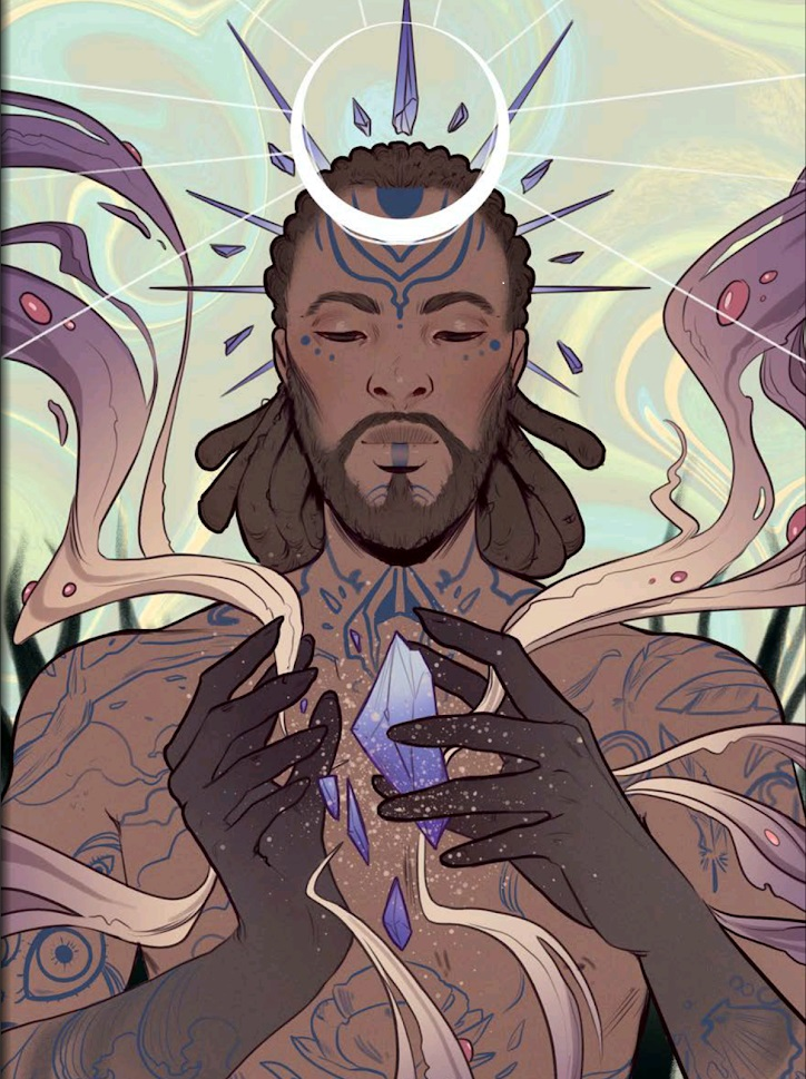 A man breaks open a crystal fragment, while crystals encircle his head, and strange mist surrounds him.