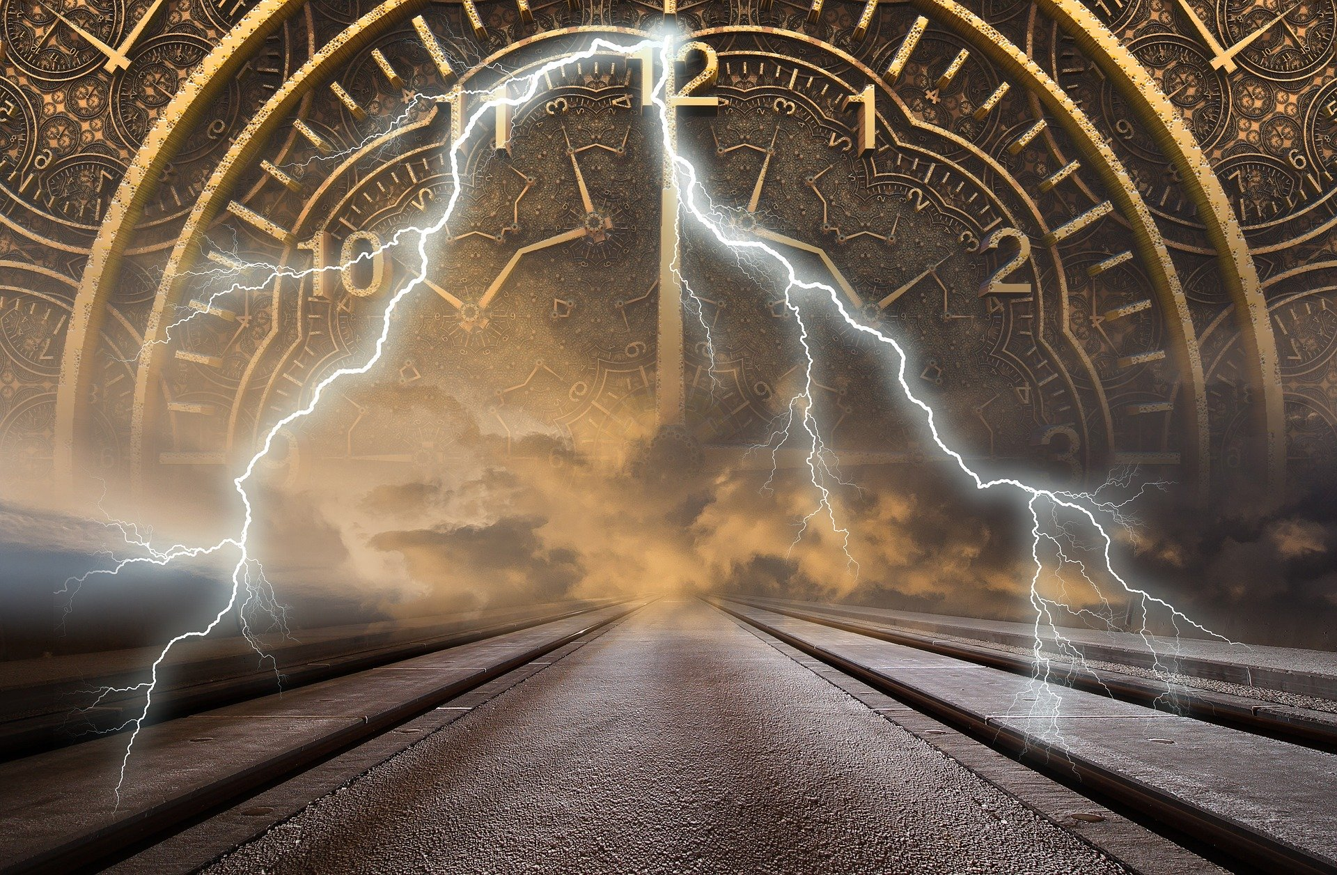 Lightning in front of Clock Face