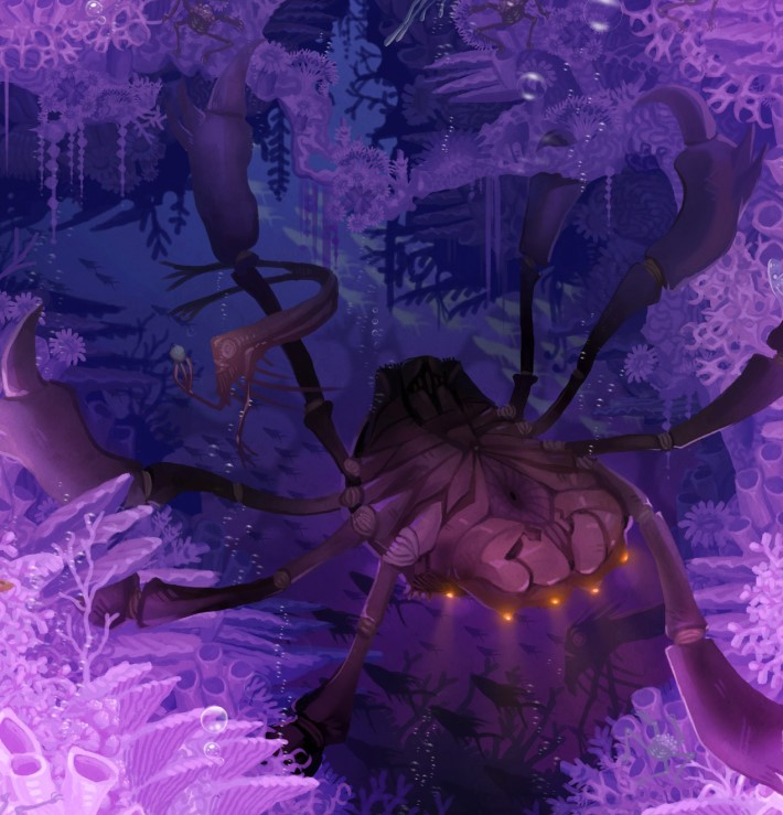 A many legged sea creature tends to aquatic plants that surround them.