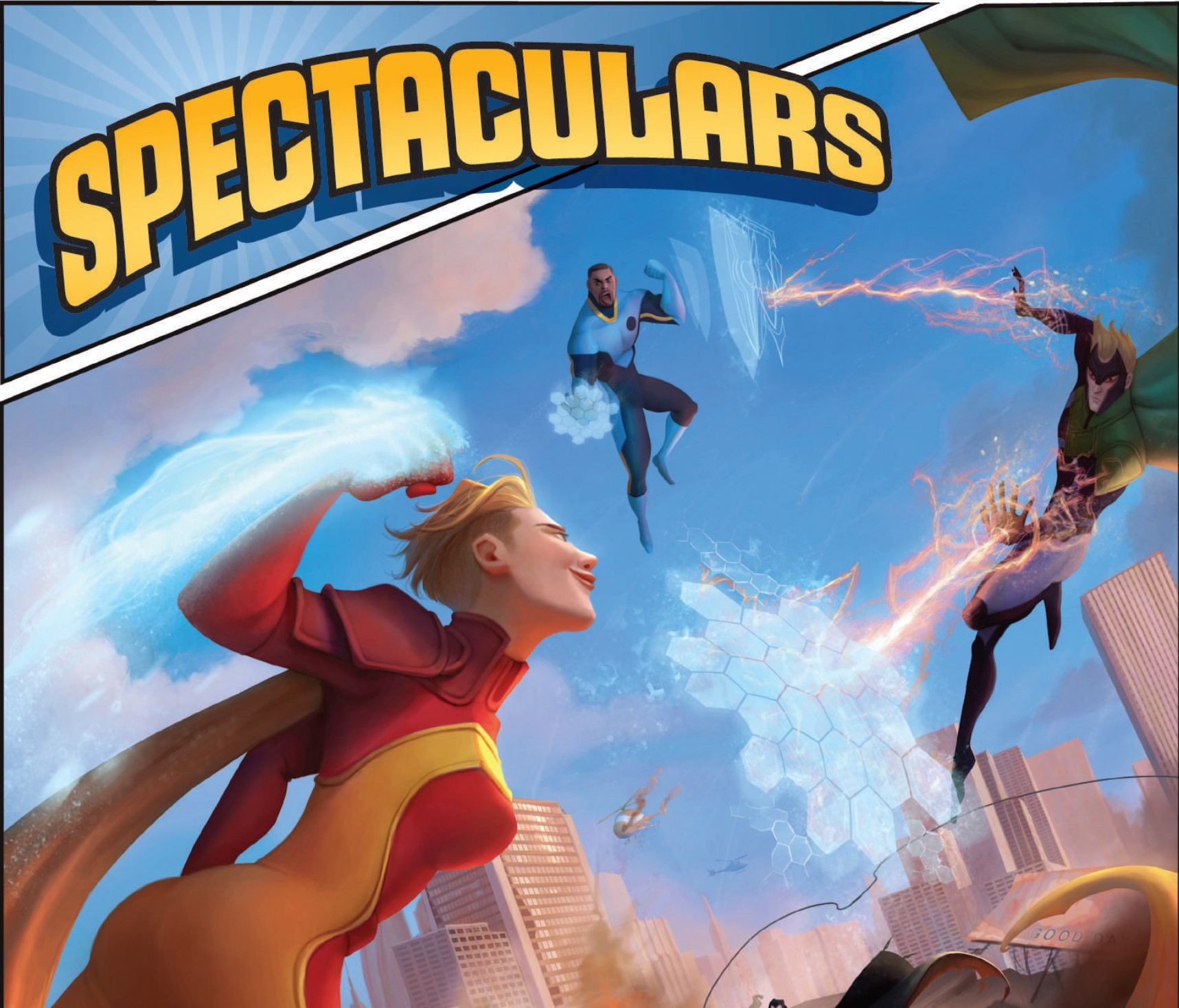 Two heroes fly over a city, flanking a supervillain and deflecting their energy attacks with force fields.