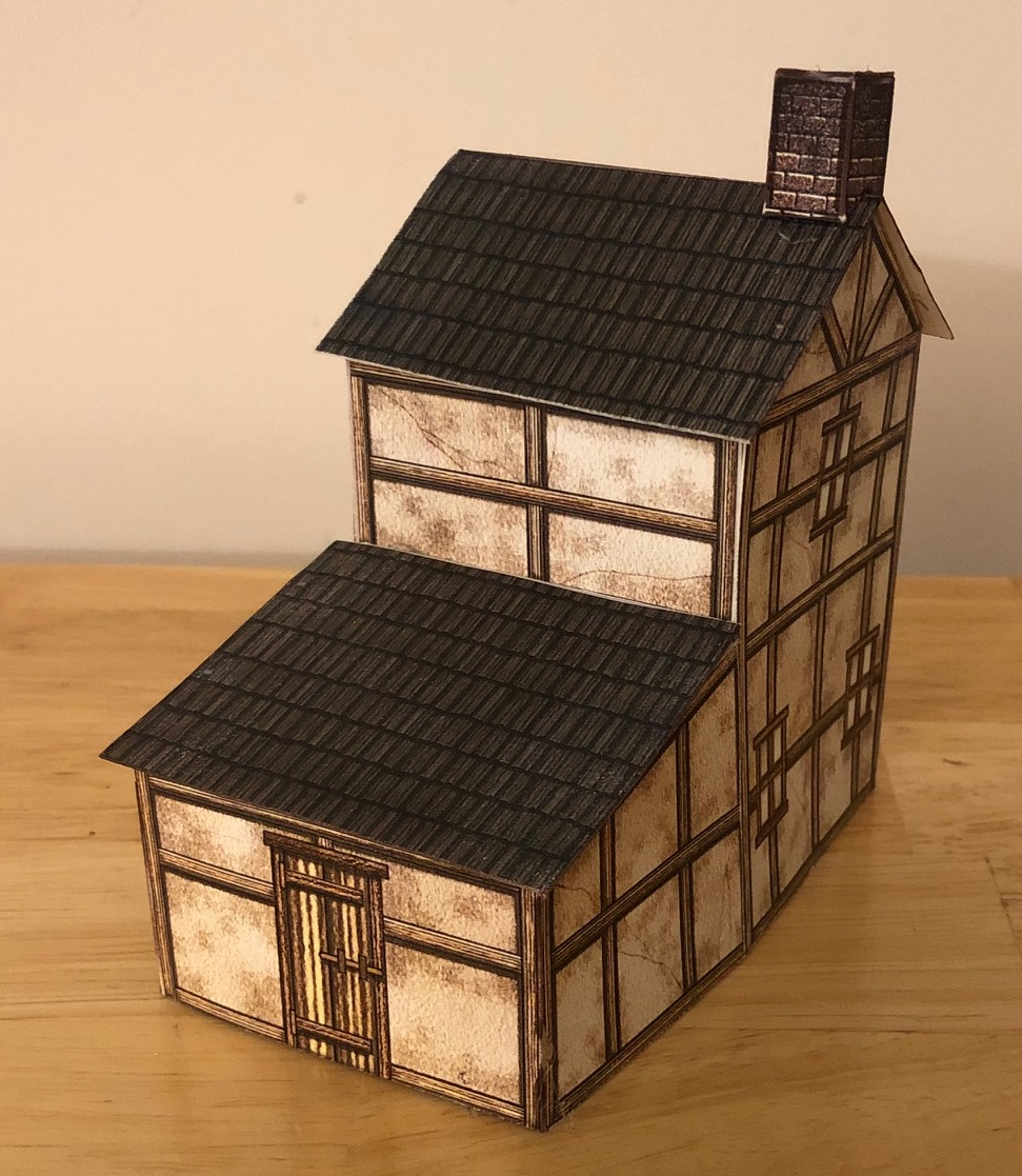 A small papercraft tudor house.