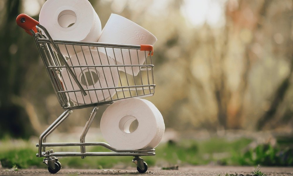 a shopping cart full of toilet paper