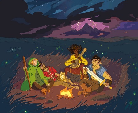 A group of adventurers gather around a campfire.