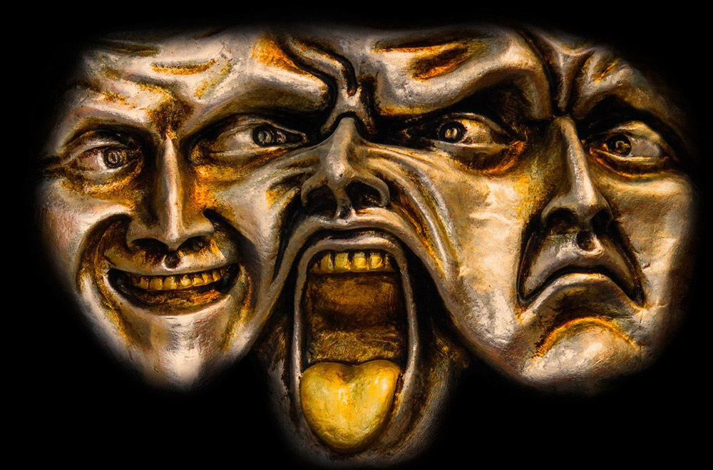 3 faces merged together in a horrific mask showing multiple personalities