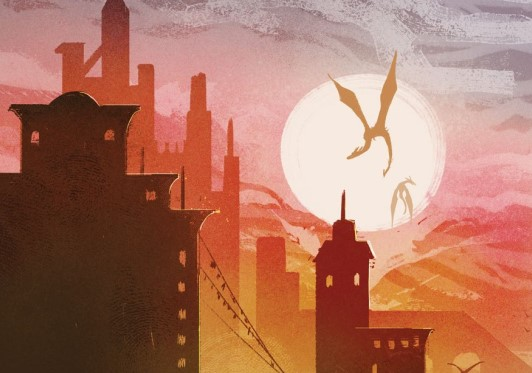 Two dragons, flying, with the sun at their backs, over a modern city.