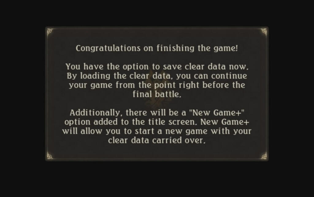 Ending Screen for a Video Game