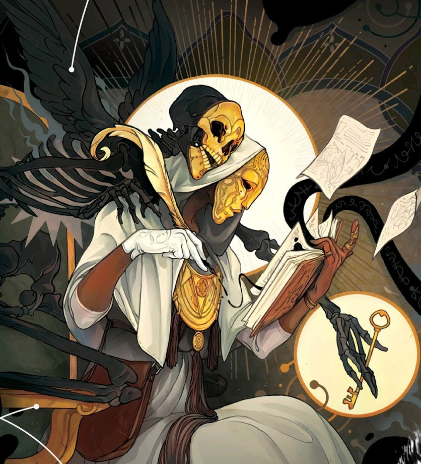 A golden masked scribe writes in a book, as a golden masked skeleton leans over their shoulder, holding a key.