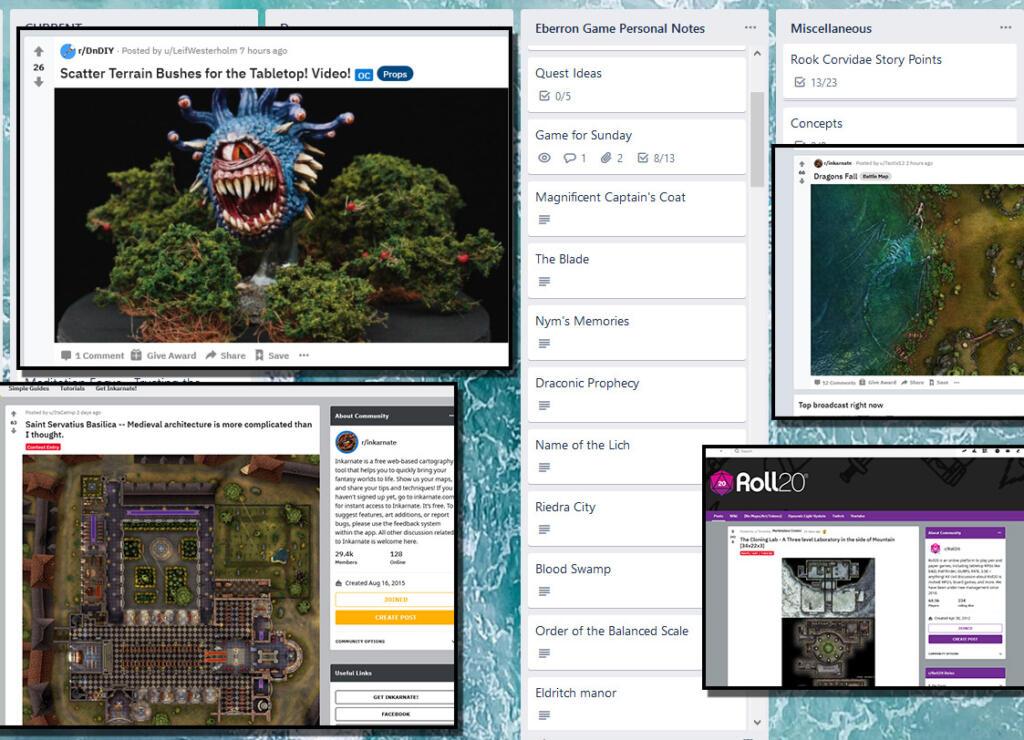 Reddit and Trello Screenshots