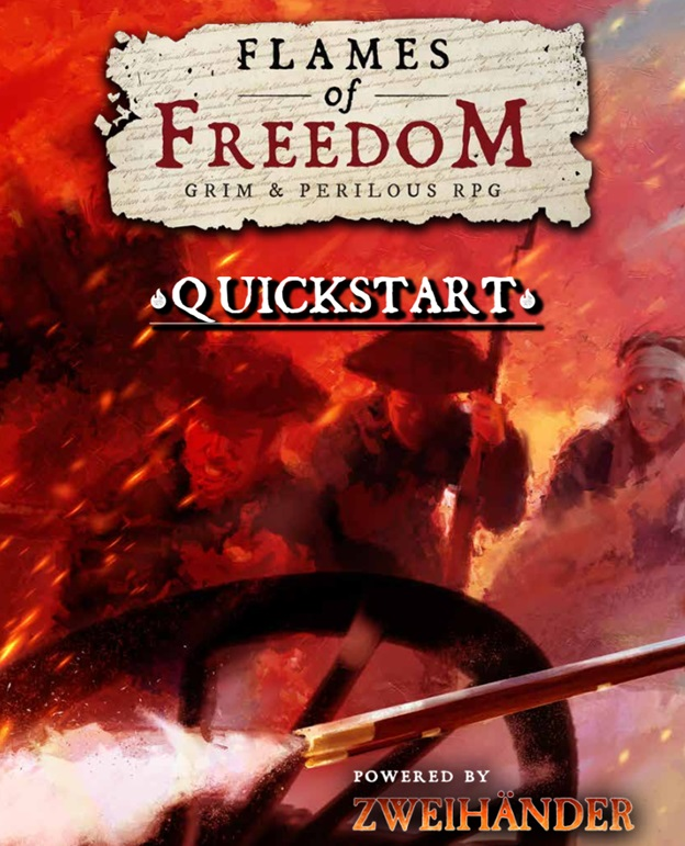Revolutionary war figures seen through smoke and fire, next to a wagon wheel and a firing musket.