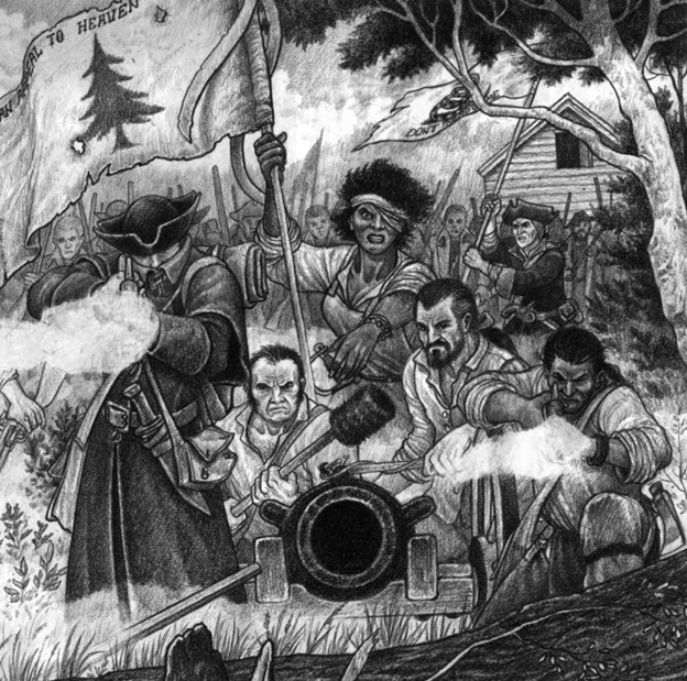 Troops comprised of many elements of Colonial society prepare to fire weapons out towards the view of the image.