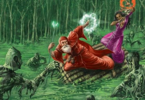 Two adventures on a raft, preparing to cast spells at the undead rising from a swamp.